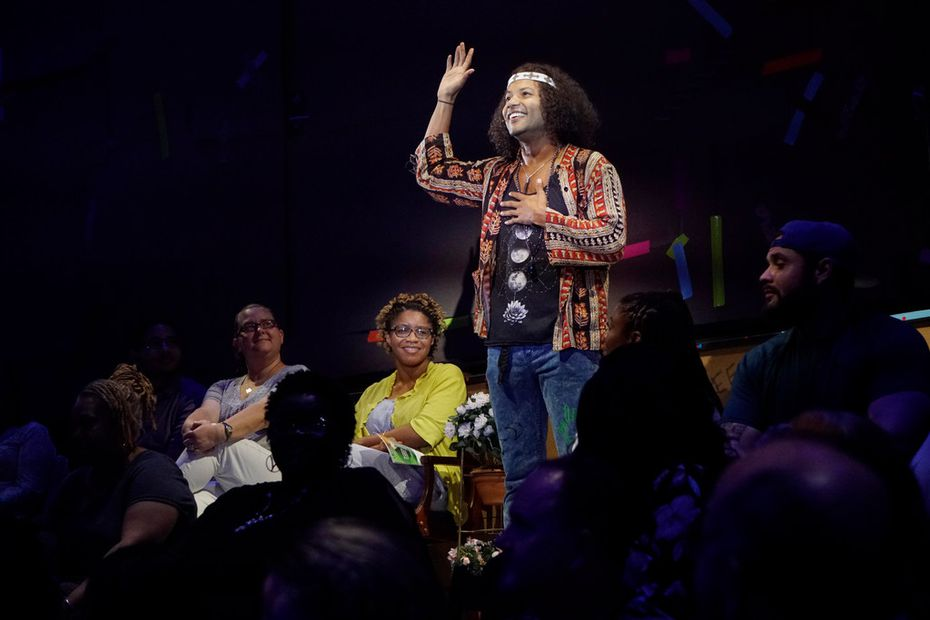 Jaime Cepero roams through the audience as he plays Claude in Hair, Dallas Theater Center's immersive production at the Wyly Theatre.
