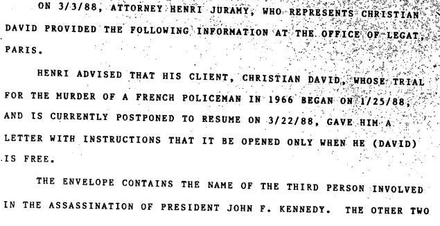 Section of a 1988 FBI memo released on Nov. 17, 2017.