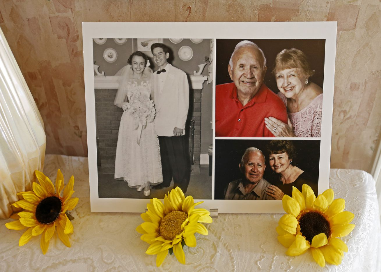 Photos of Frank and Carole Barbosa sit on the table at their 65th wedding anniversary celebration at their daughter Ani Stone's home in Dallas, Wednesday, July 26, 2017.