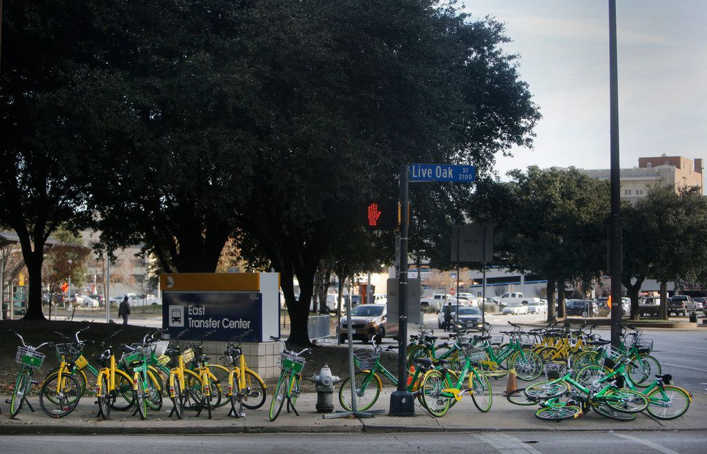 Thirty rental bikes are propped and piled on the corner of Live Oak and Olive Streets in downtown Dallas