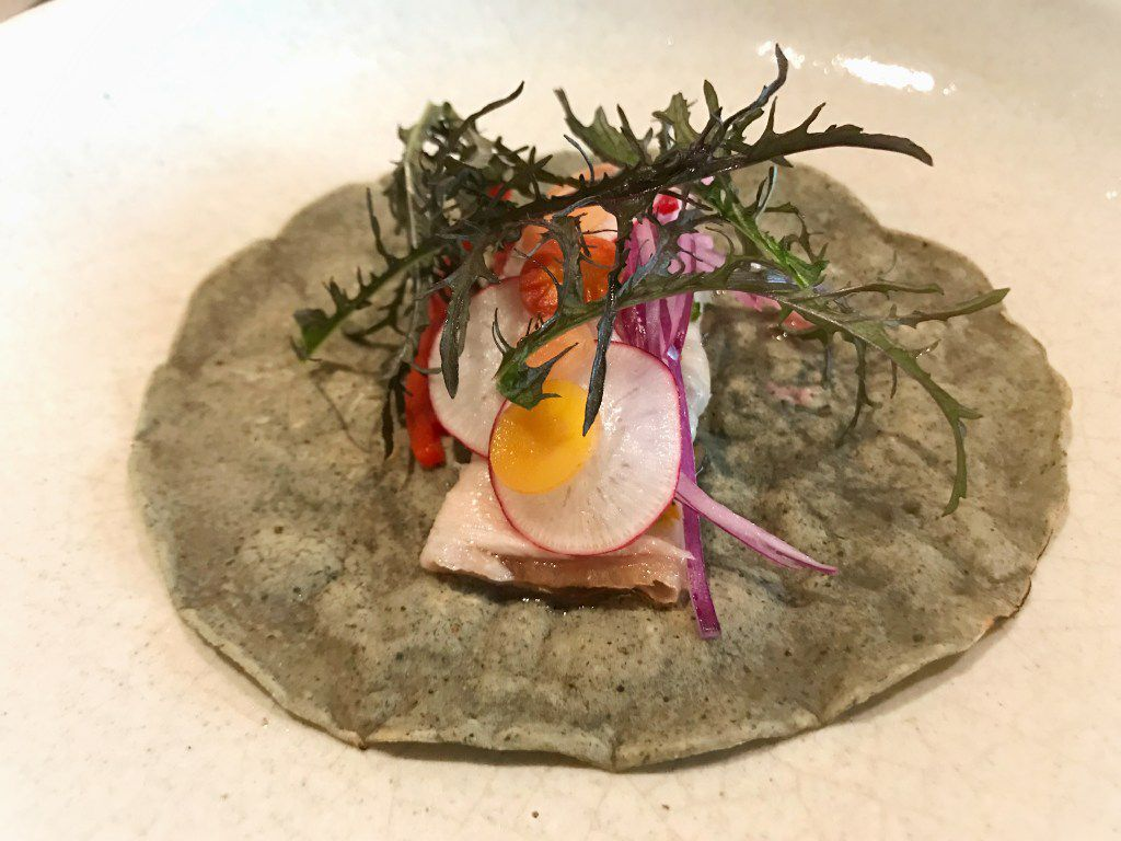 Panza de cerdo – pork belly –  taco with radishes, carrots and lacy mustard greens
