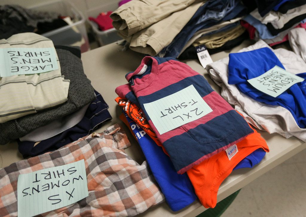 Clothes line a table at Oak Lawn United Methodist Church on Thursday, June 6, 2019 in Dallas.