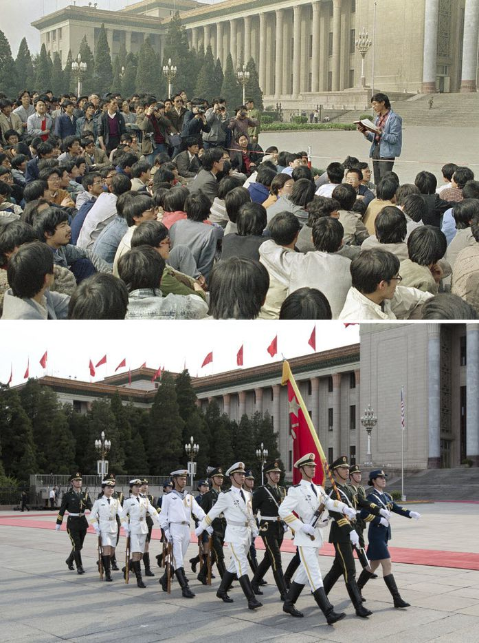 In this combination of photos, an April 18, 1989 file photo, top, shows a Chinese student leader reading a list of demands to students staging a sit-in in front of the Great Hall of the People in Beijing, and at the same venue almost 25 years later, a May 29, 2014 photo, bottom, shows Chinese People's Liberation Army (PLA) soldiers marching to their positions before an honor guard performance for a welcome ceremony.