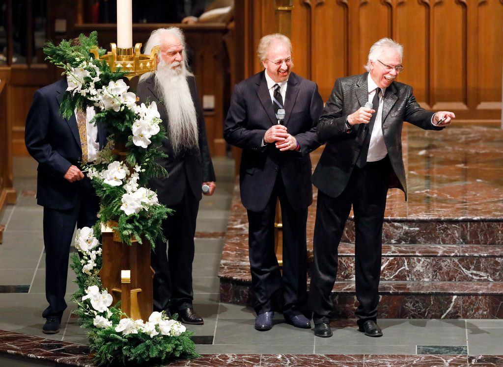 Members of the musical group the Oak Ridge Boys -- including (from right to left) Joe Bonsall, Duane Allen, and William Lee Golden -- acknowledge the Bush family before singing during the funeral service for George H.W. Bush, the 41st President of the United States, at St. Martin's Episcopal Church in Houston, Thursday, December 6, 2018.