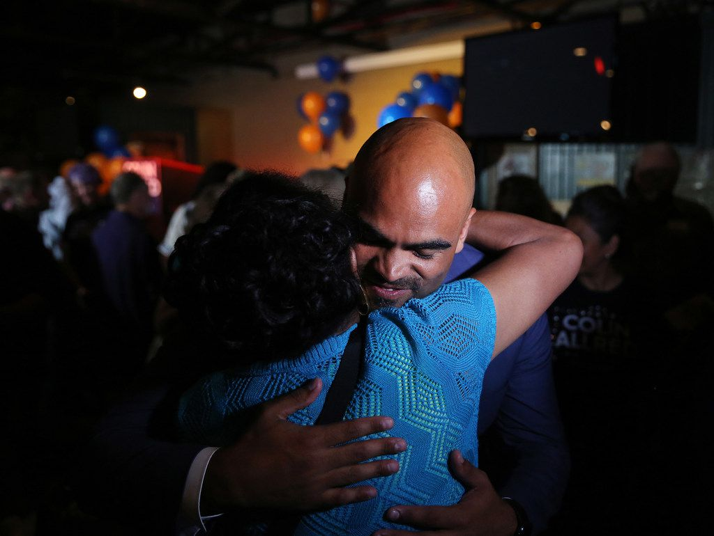 Colin Allred greets supporters after speaking during an election night party at Ozone Grill and Bar in Dallas Tuesday May 22, 2018. Allred is running for the 32nd Congressional District against Lillian Salerno in the Democratic primary runoff. (Andy Jacobsohn/The Dallas Morning News)