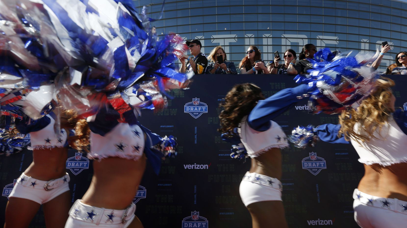 The Dallas Cowboys Cheerleaders performed on the red carpet before the NFL draft at AT&T Stadium in Arlington in April.