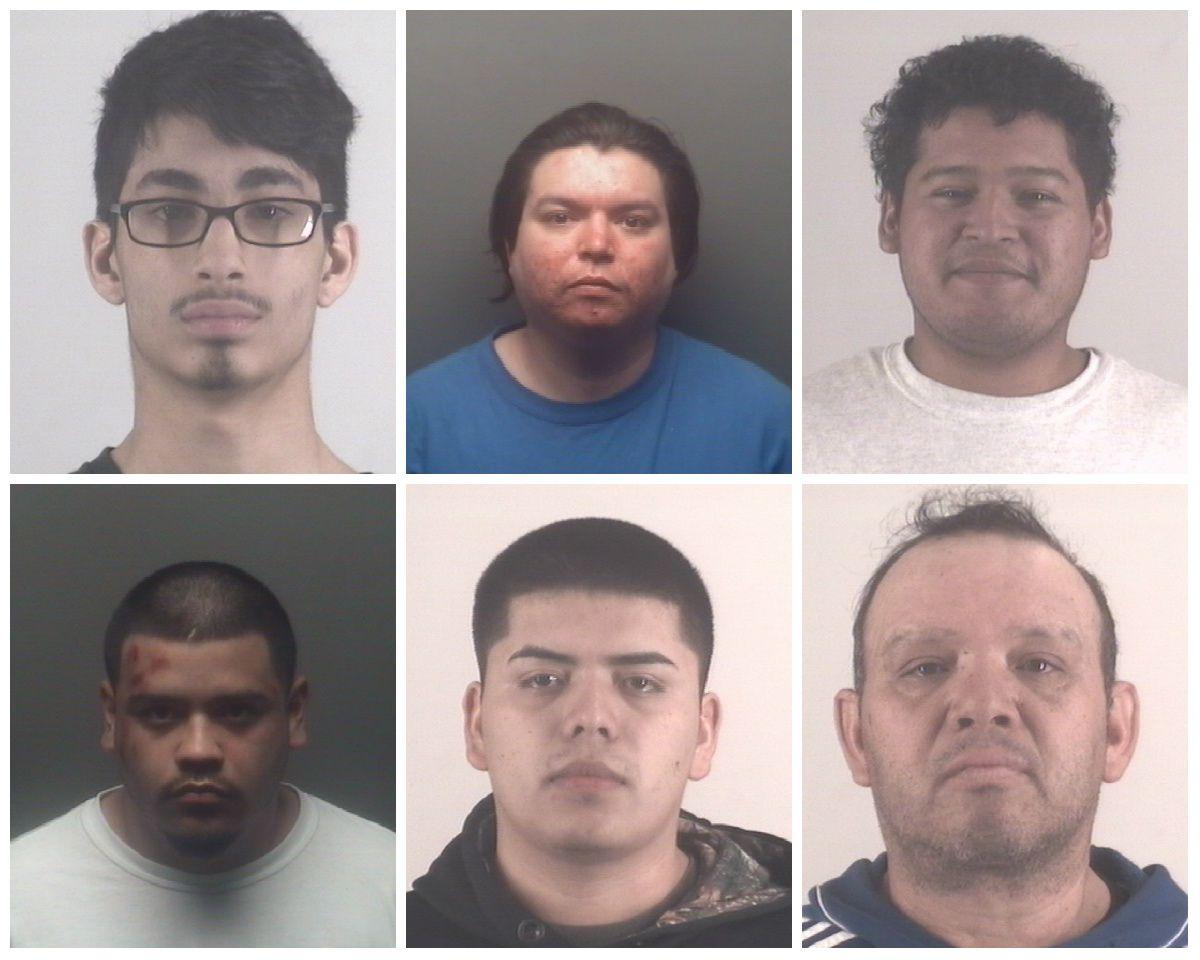 Top row: Marcus Beavers, Jose Garcia, Cristhian Molina. Bottom row: Abel Morales, Edgar Manuel Rivera-Salazar, Carlos Alberto Yanez-Cervantes. (Tarrant County Corrections Center, Mansfield Jail)