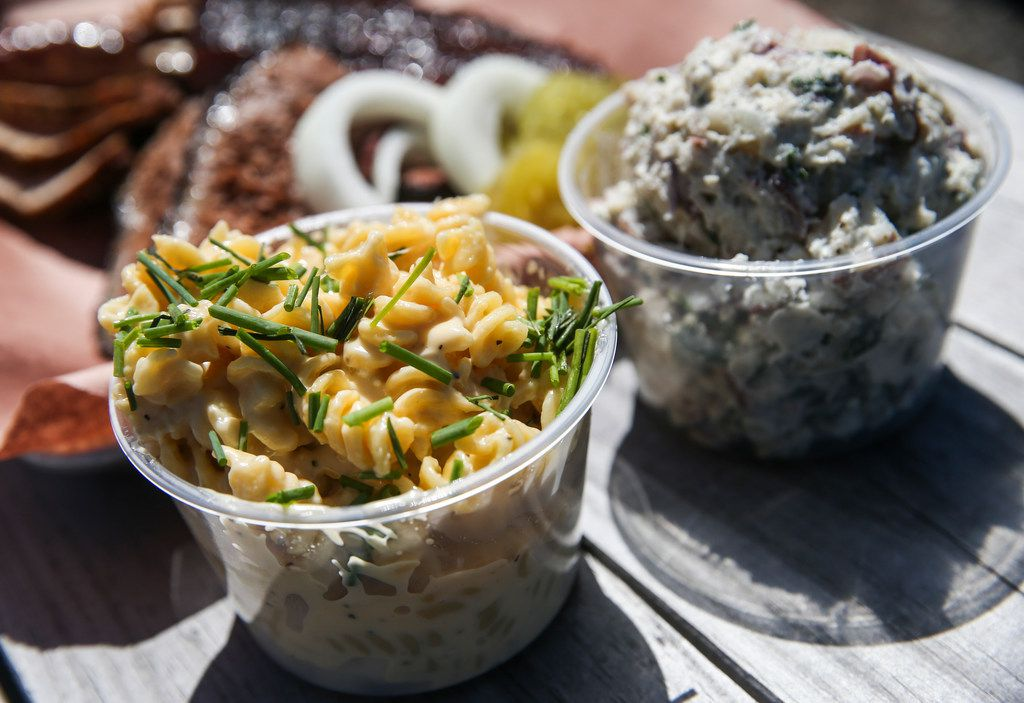 Smoked macaroni and cheese and potato salad are seen at Smoke Sessions Barbecue on Friday, April 20, 2019 in Royse City, Texas. (Ryan Michalesko/The Dallas Morning News)