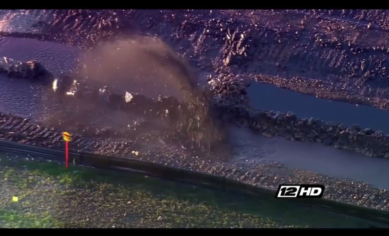 Shot of the pipeline rupture from KXII-TV (Channel 12) in Sherman