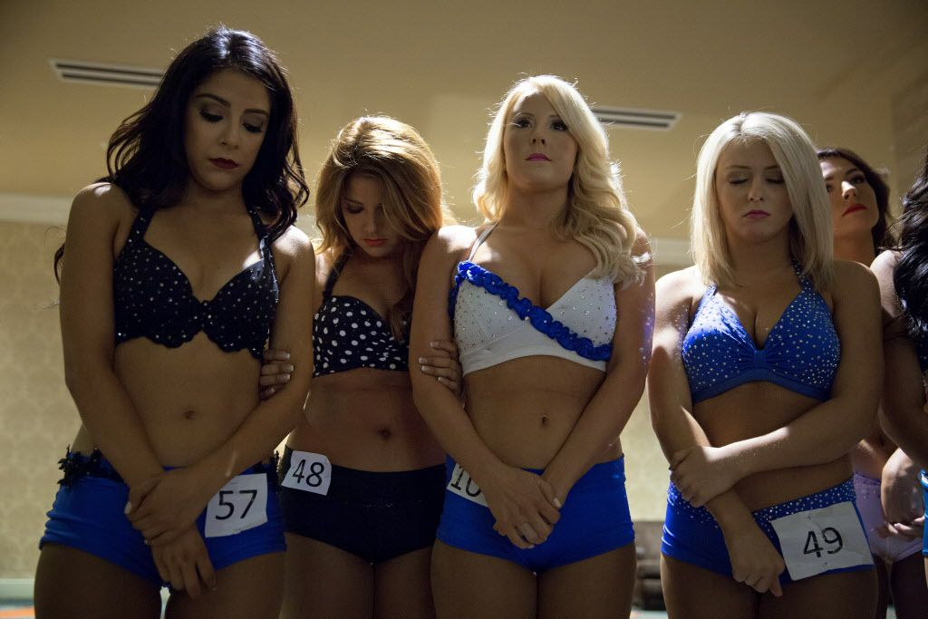 (From left) Emily Morales, Bonnie Ohlig, Lauren Gibler and Hunter Blackwell wait to hear if their names are called as part of the final cut during final auditions to join the 2015-2016 Dallas Mavericks Dancers team Sunday, July 12, 2015 in Dallas. More than 40 women made it to the finals, vying for a spot to take part in a training camp later in the week.