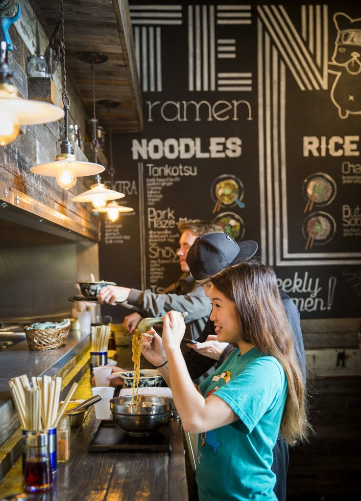 Julie Tran eats lunch at Ten Ramen Shop on Thursday, May 21, 2015, in Dallas.