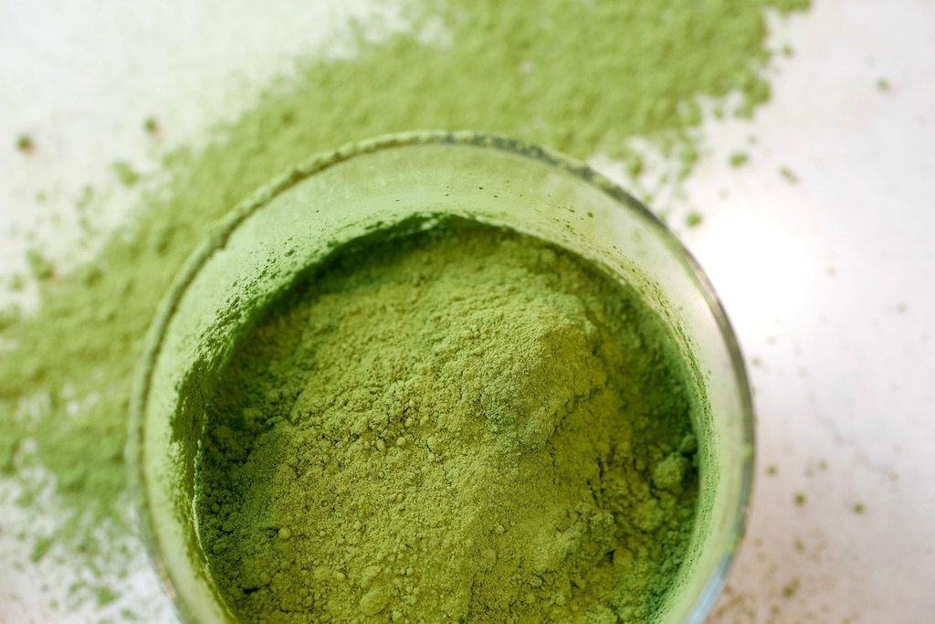 Matcha powder at La La Land Kind Cafe in Dallas