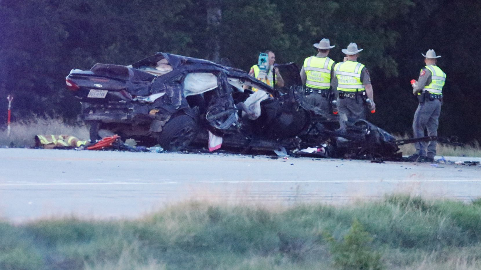 State Troopers continue to investigate a multiple vehicle accident on S.H. 121 near Westminster near County Road 581. Four people died in the Collin County accident Tuesday June 2,2017. (Ron Baselice/The Dallas Morning News)