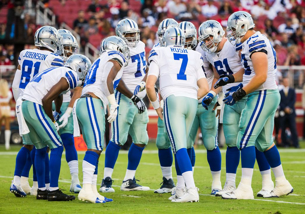 Dallas Cowboys quarterback Cooper Rush (7) calls a play during the second quarter of an NFL preseason game between the Dallas Cowboys and the San Francisco 49ers on Saturday, August 10, 2019 at Levi's Stadium in Santa Clara, California. (Ashley Landis/The Dallas Morning News)
