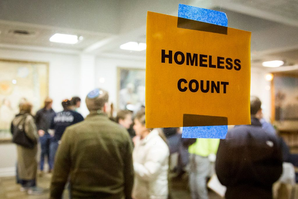 Volunteers check in at Wilshire Baptist Church before setting out for the 2017 Metro Dallas Homeless Alliance Count annual homeless census on Jan. 26, 2017, in Dallas. The federally-mandated annual census took place in Dallas County as volunteers went out into the community to interview homeless residents.