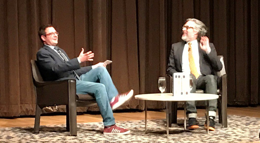 Dallas Theater Center artistic director Kevin Moriarty (left) interviews author Michael Chabon on Monday at the Dallas Museum of Art.