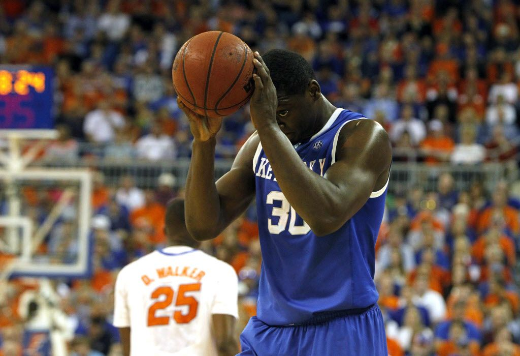 Mar 8, 2014; Gainesville, FL, USA; Kentucky Wildcats forward Julius Randle (30) reacts against the Florida Gators during the first half at Stephen C. O'Connell Center. Mandatory Credit: Kim Klement-USA TODAY Sports