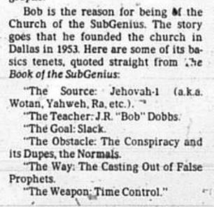 Snip from the article published August 31, 1983 about the Church of SubGenius.
