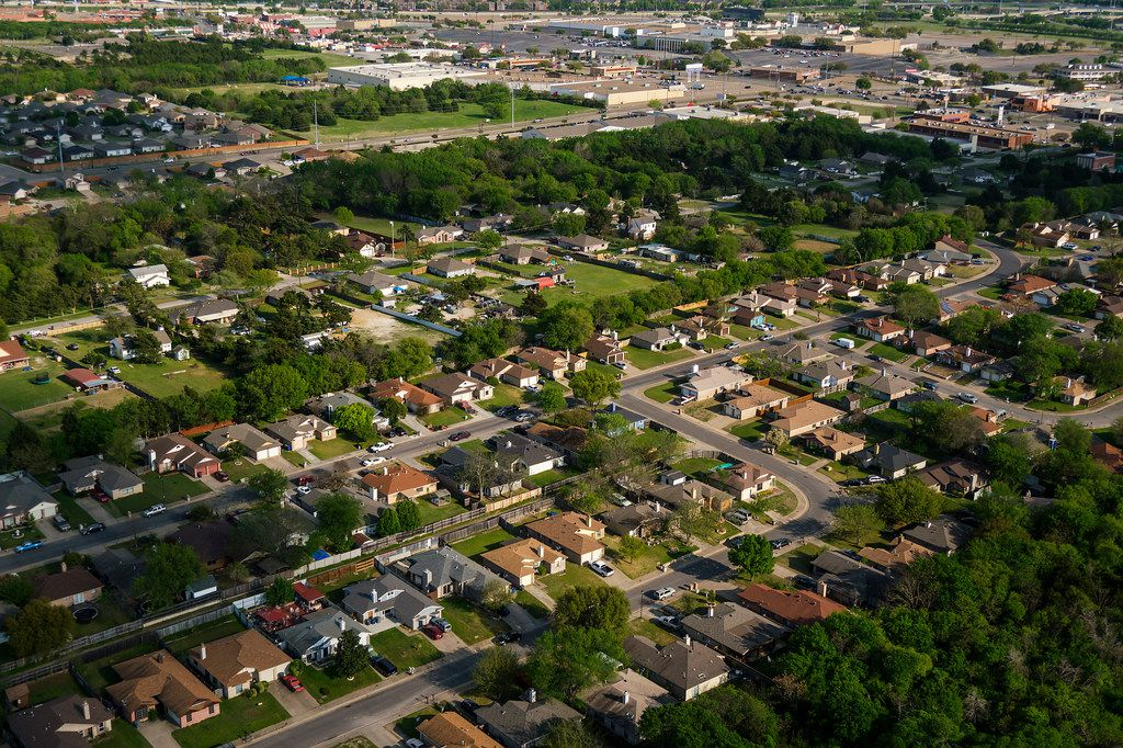 Aerial view of houses and apartments in the Red Bird area on April 4, 2019, in Dallas.