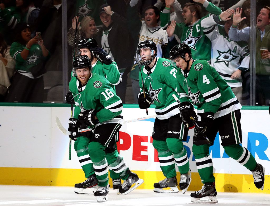 DALLAS, TEXAS - OCTOBER 29:  The Dallas Stars celebrate a goal by Joe Pavelski #16 of the Dallas Stars against the Minnesota Wild in the third period at American Airlines Center on October 29, 2019 in Dallas, Texas.