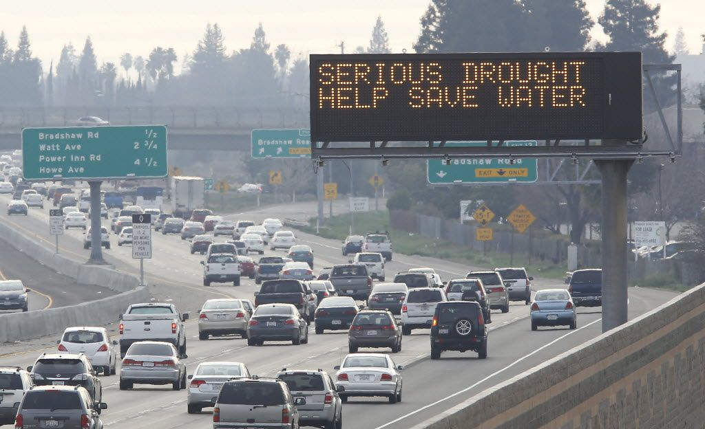 In February 2014, a Sacramento traffic sign displays California's water woes.