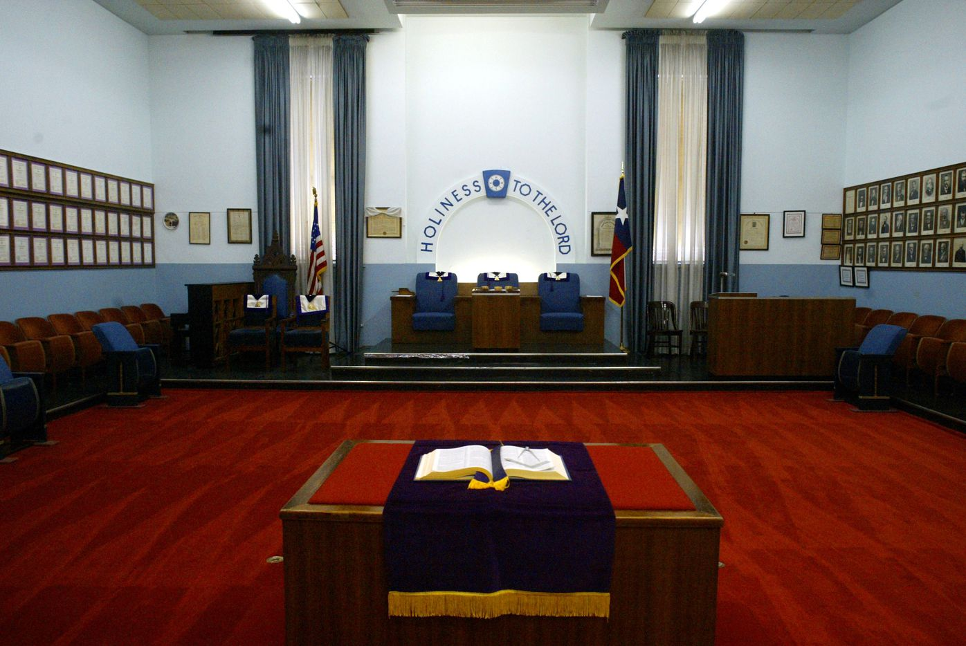 The interior of the building originally housed five lodge rooms.