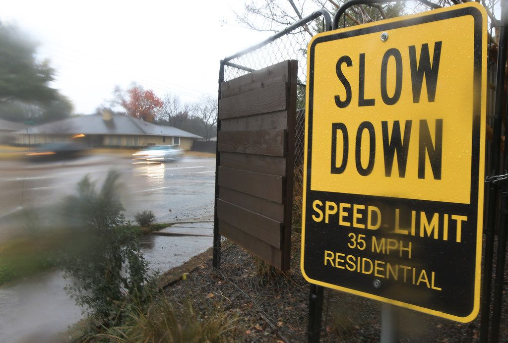 A homeowner along Abrams Road in Lakewood posted a sign urging drivers to obey the speed limit.