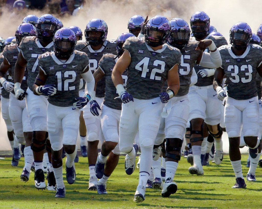 Members of the TCU horned frogs hit the field prior to the start of their game against Southern. The two teams played their season opening football game at Amon G. Carter Stadium in Fort Worth on September 1, 2018. (Steve Hamm/ Special Contributor)