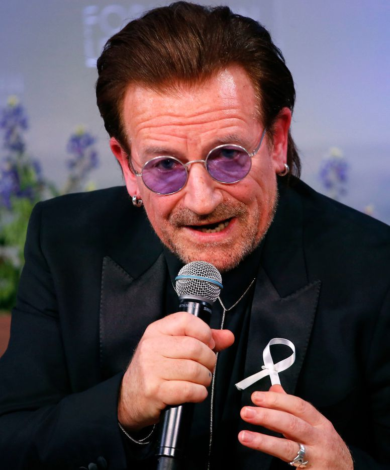 Bono speaks after he receives the George W. Bush Medal for Distinguished Leadership during the Forum on Leadership Gala at George W. Bush Presidential Center in Dallas, Thursday, April 19, 2018. (Jae S. Lee/The Dallas Morning News)