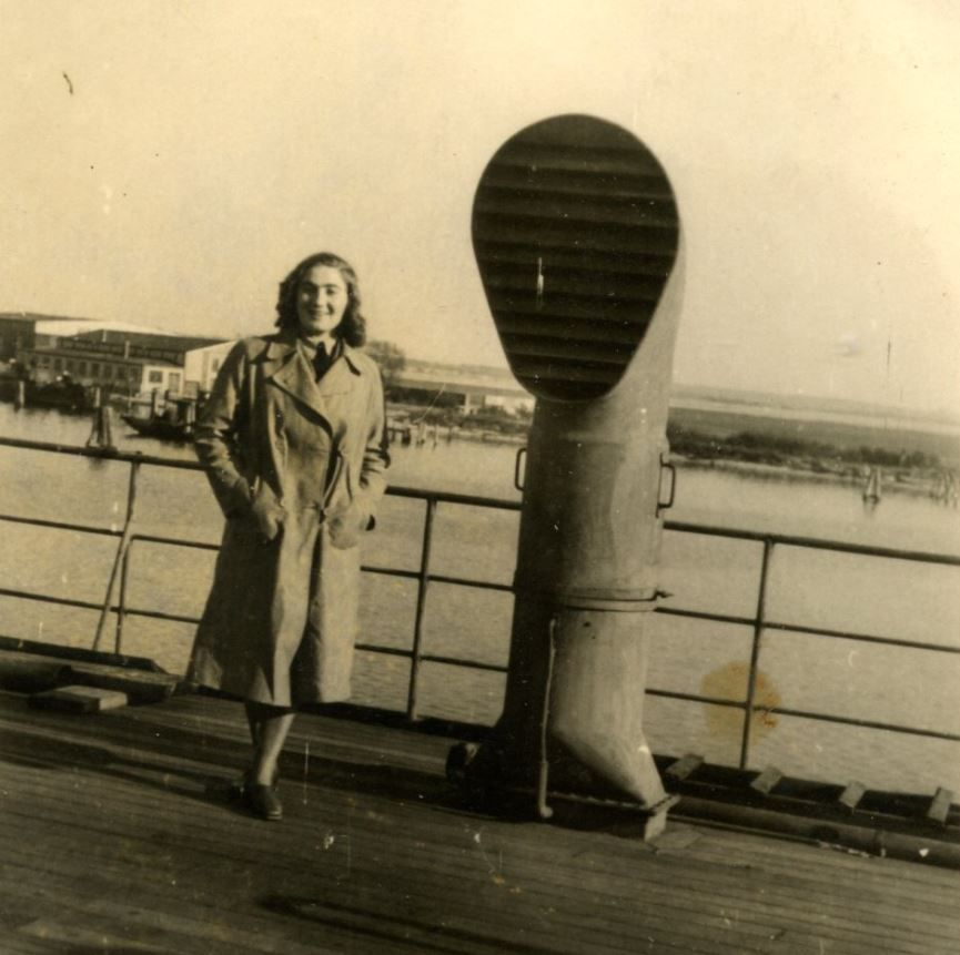 Magda Sternberg on the ship coming to America in November 1949.