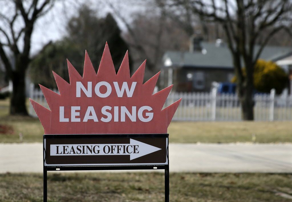 """A """"now leasing"""" sign is shown outside an apartment complex near Millville, N.J."""