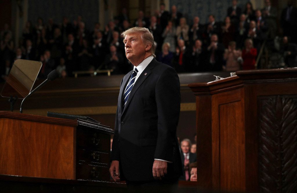 President Donald Trump arrives on Capitol Hill in Washington, Tuesday, Feb. 28, 2017, for his address to a joint session of Congress. (Jim Lo Scalzo/Pool Image via AP)