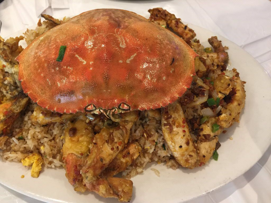 Dungeness crab fried rice at Garden Restaurant in Garland. The rice wasn't as flavorful as I'd hoped, though not bad; the Dungeness crab sitting on top was very good, and there was a tasty, crunchy, somewhat oily fried shallot garnish on the rice.