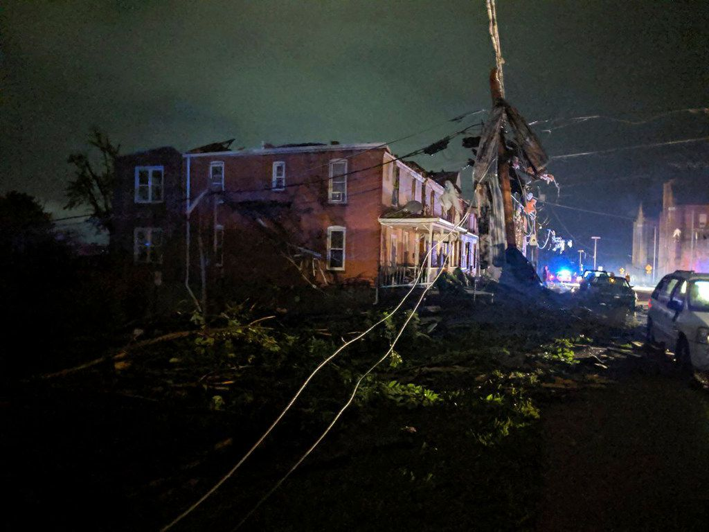 This image posted on the Twitter account of Stechshultsy shows tornado-hit Jefferson City, Mo., on Thursday, May 23, 2019. The National Weather Service has confirmed a large and destructive tornado touched down in Missouri's state capital, causing heavy damage and trapping multiple people in the wreckage of their homes.