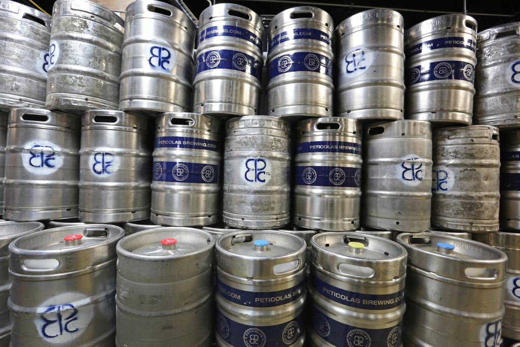 A look at some of the beer stored in kegs at the Peticolas Brewing Company, 2026 Farrington Street in Dallas, photographed on Saturday, April 8, 2017. (Louis DeLuca/The Dallas Morning News)