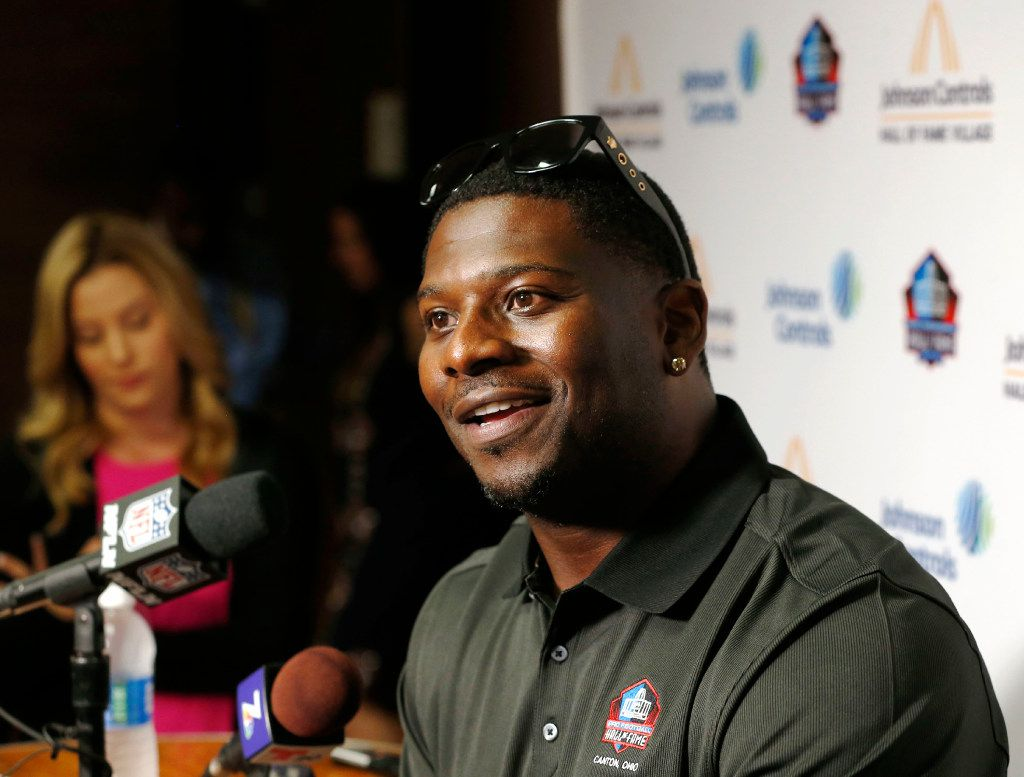 Hall of Fame inductee LaDainian Tomlinson answers questions from the media during a press conference at Canton McKinley High School in Canton, Ohio on Friday, August 5, 2017. (Vernon Bryant/The Dallas Morning News)
