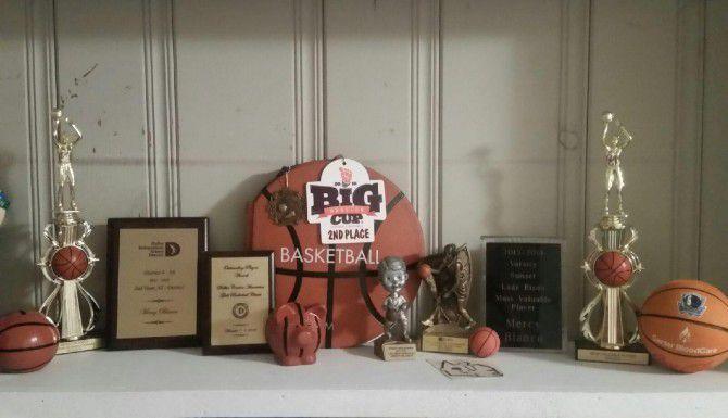Los trofeos y placas ocupan un lugar especial de la casa