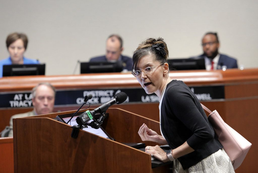 Kristi Lara speaks about council member La'Shadion Shemwell's accusation that a McKinney police officer racially profiled him during a traffic stop during a McKinney City Council meeting on May 15.