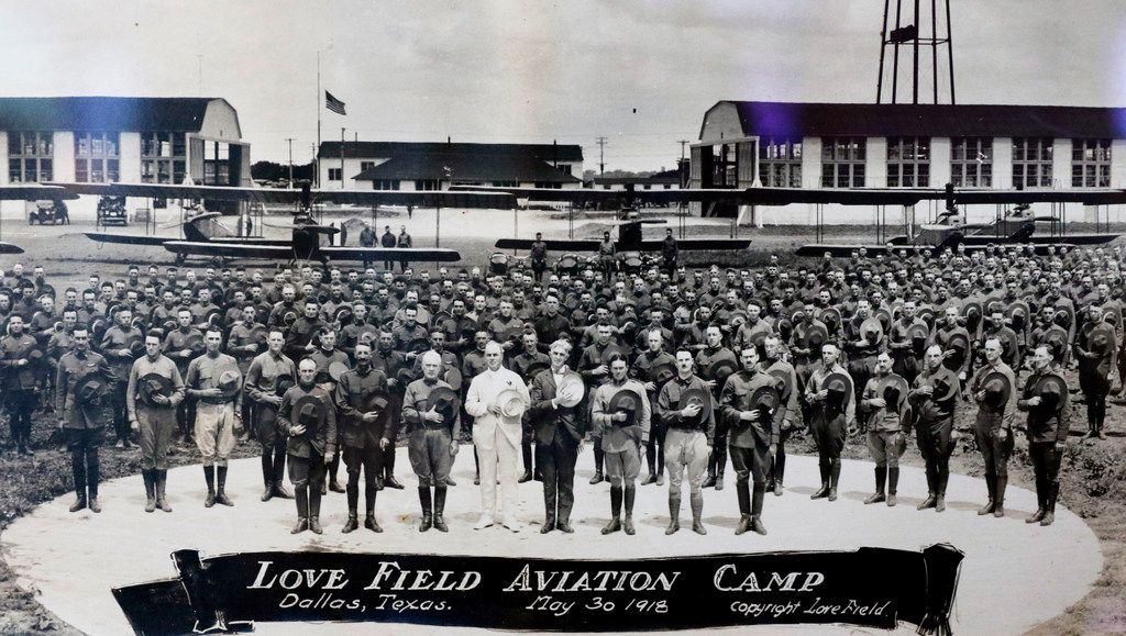 A photograph of Dallas Field Aviation Camp, taken May 30, 1918, was on display during Love Field's 100th anniversary celebration on Thursday, October 19, 2017.
