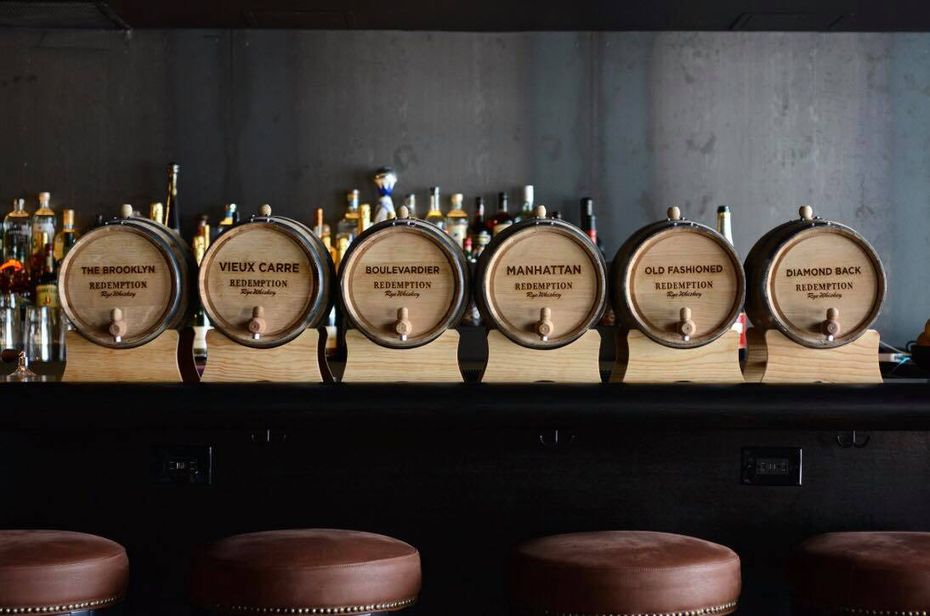 Network Bar's barrel-aged cocktail program, ready-made for handy sips.
