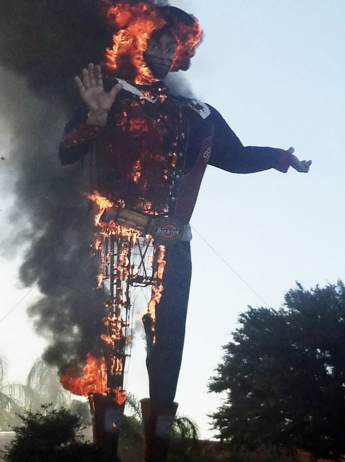 Big Tex on fire at the State Fair of Texas, in Fair Park, Friday morning, Oct. 19, 2012 in Dallas, TX.