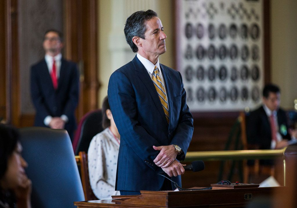 Senator Kelly Hancock stands at his desk on the second day of the 86th Texas legislature on Wednesday, January 9, 2019 at the Texas state capital in Austin, Texas. (Ashley Landis/The Dallas Morning News)