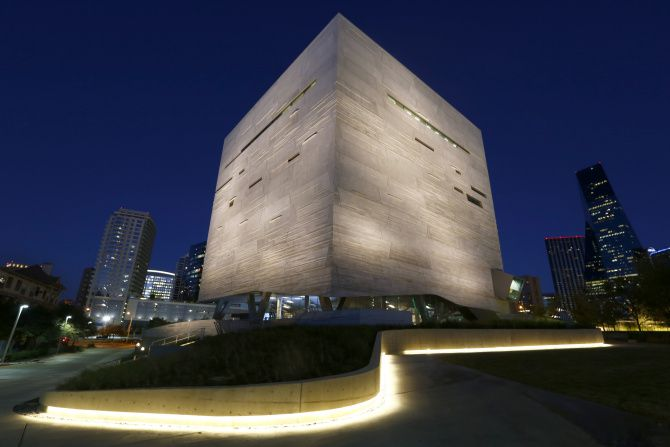 An illuminated sidewalk on the west side of the Perot Museum of Nature and Science leads visitors through a native-landscaped entry to the museum. The $185 million facility, which opens Saturday to the general public, is five floors and 180,000 square feet designed to simultaneously dazzle and educate.