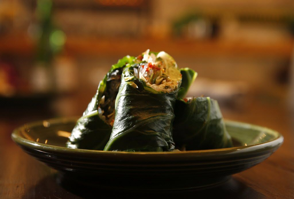 At Mudhen Meat and Greens, chef Suki Otsuki's spring rolls with carrots, avocado, cabbage and kelp noodles are wrapped in blanched collard greens. Mudhen is a new health-focused restaurant at the Dallas Farmers Market from Shannon Wynne and partners.