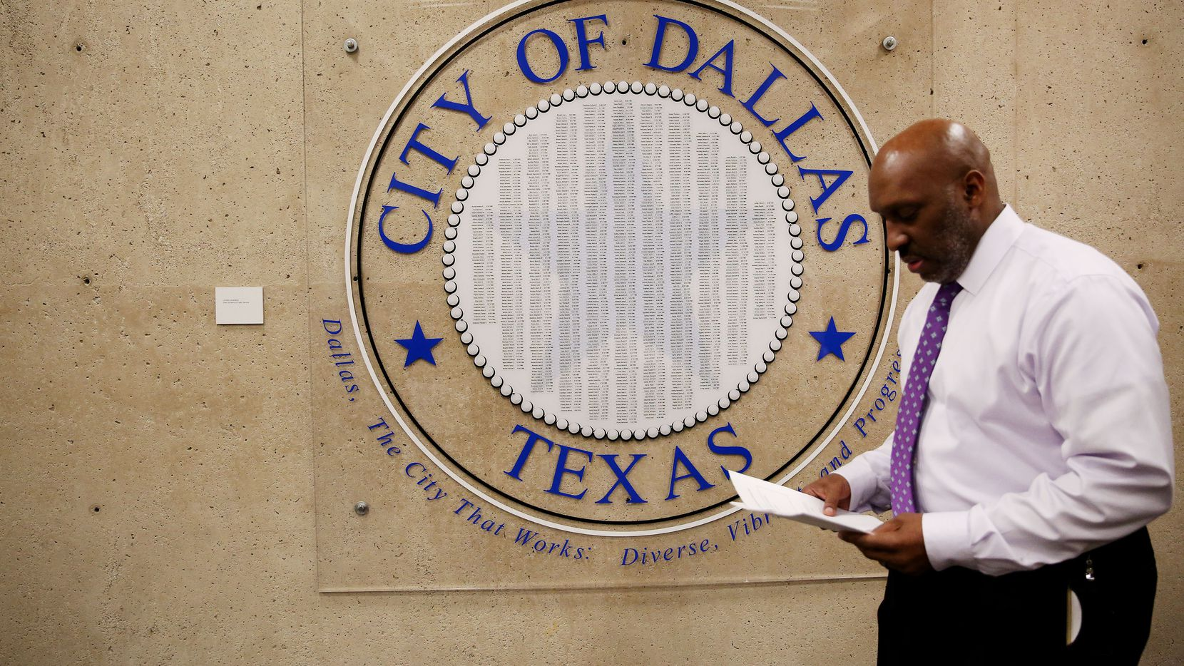 Dallas city manager T.C. Broadnax returns to his office in Dallas city hall in downtown Dallas Wednesday February 1, 2017. This was his first day on the job. Broadnax was formerly in the same role in Tacoma, Washington. He succeeds A.C. Gonzalez. (Andy Jacobsohn/The Dallas Morning News)