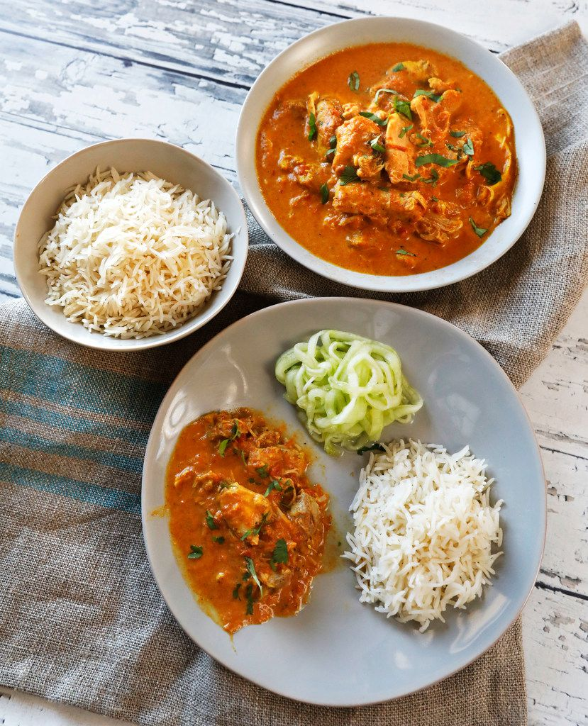 Instant Pot Keto Indian Butter Chicken, with rice and spiralized cucumbers.