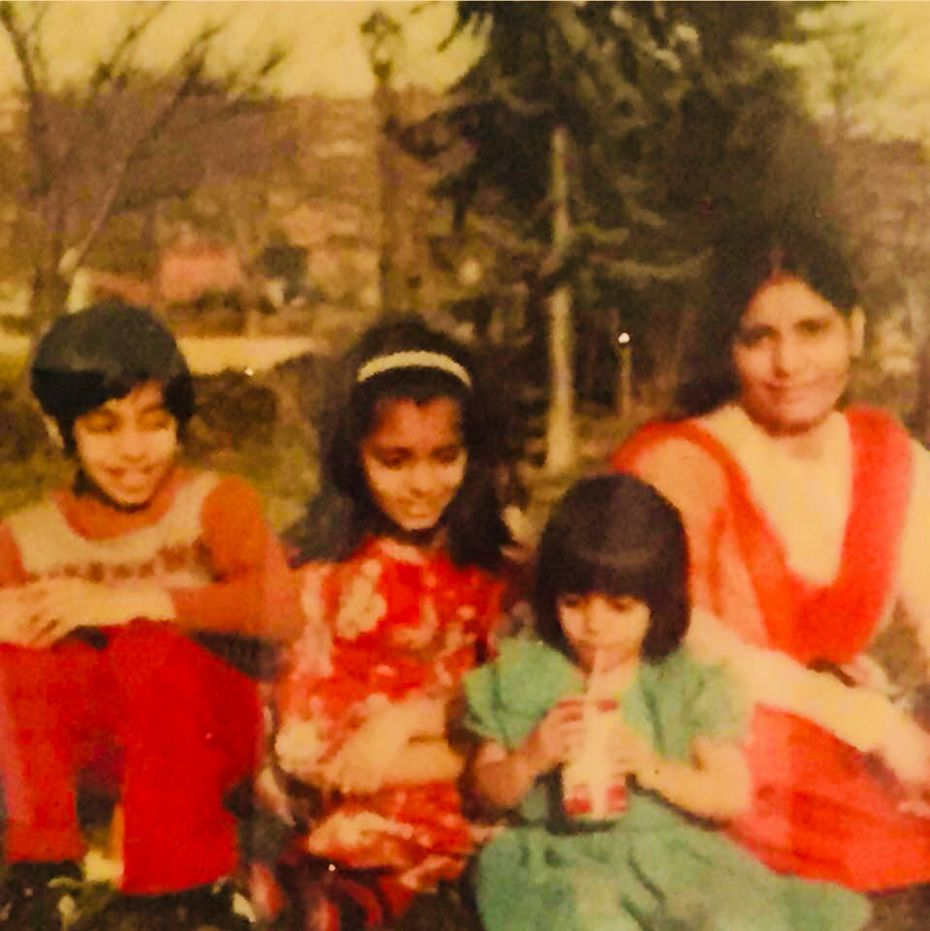 The author, second from right, her mom and siblings as new immigrants to the U.S. (Photos courtesy Shaheen Pasha)