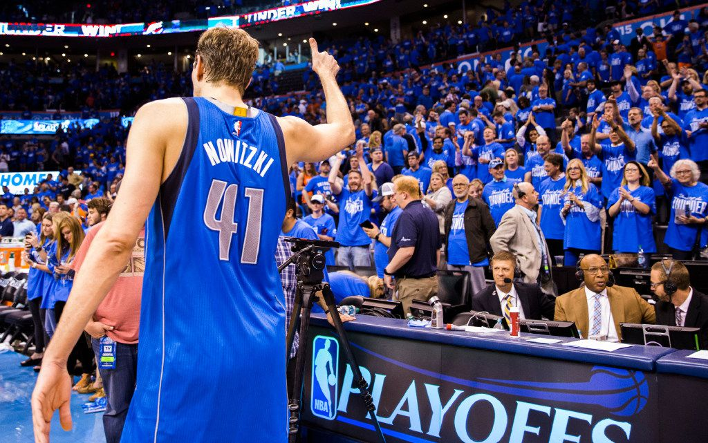 Dallas Mavericks forward Dirk Nowitzki (41) gives the Oklahoma City Thunder crowd a thumbs up after the Mavs lost game 5 of their series 118-104 in the first round of NBA playoffs on Monday, April 25, 2016 at Chesapeake Energy Arena in Oklahoma City, Oklahoma.  (Ashley Landis/The Dallas Morning News) ORG XMIT: DMN1604252203577674
