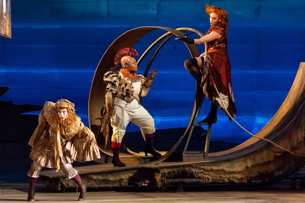 (From left:) Olivia Barbieri as a Hen, Amber R. Monroe as the Rooster and Joanna Latini as the Vixen, in the Glimmerglass Festival's 2018 production of Leos Janacek's  The Cunning Little Vixen.
