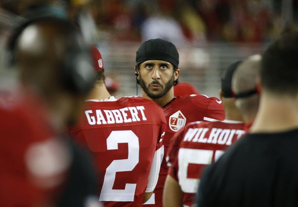 San Francisco 49ers quarterback Colin Kaepernick on the sidelines during the second half of an NFL preseason football game against the Green Bay Packers on Aug. 26 in Santa Clara, Calif.